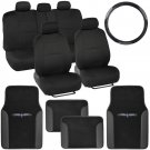 Black & Black Seat Covers 14 Pc Set Complete Two Tone Vinyl Trim Floor Mats