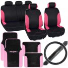 Bucatti 14 Pc Set 2 Tone Black Pink Car Seat Cover and Mat & Steering Cover