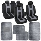 Grey And Black Auto Seat Covers And Gray Checker Rug Floor Mats for Car SUV Van