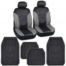 BlackGray Leatherette Car Seat Covers w Heavy Duty Rubber Floor Mat Liners
