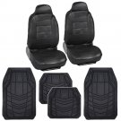 Black Leatherette Car Seat Covers With Heavy Duty Rubber Floor Mat Liners for Auto
