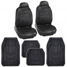 Black Simulated Leather Car Seat Covers With HD Rubber Floor Mats All Weather