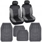 Gray And Black Leatherette Car Seat Covers With Grey Heavy Duty Rubber Floor Mats
