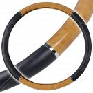 OEM Big Rig Steering Wheel Cover Light Wood Grain Luxury Syn Leather Snug Fit