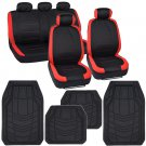 Red Trim Accent on Black Polyester Cloth Car Seat Covers Rubber Floor Mats