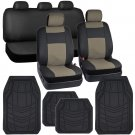 Car Seat Covers Black Beige PU Leather With Heavy Duty Rubber Floor Mats for Auto