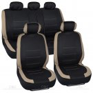 OEM Tan Stitched Car Seat Covers Beige Accent on Black Flat Cloth 10pc Front Rear