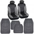 Synth Leather Car Seat Covers High Back in Grey Black With Gray Rubber Floor Mats