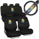 Original Despicable Me Minions Car Seat Covers w PU Leather Steering Wheel Cover