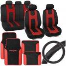 Red Black Rome Sport Car Seat Cover Floor Mats Ergo Steering Wheel Cover