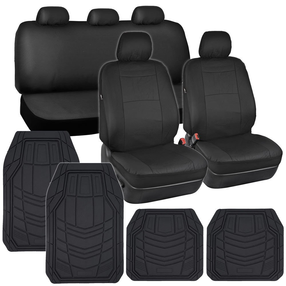 oem car seat covers black pu leather w heavy duty rubber floor mats for auto. Black Bedroom Furniture Sets. Home Design Ideas
