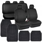 OEM Car Seat Covers Black PU Leather w Heavy Duty Rubber Floor Mats for Auto