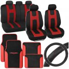 Red Rome Sport Car Seat Cover 2 Tone Car Floor Mat Ergo Steering Wheel Cover