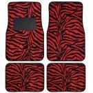 Supreme Zebra Red 4 Piece Plush High Quality Car Auto Carpet Floor Mats