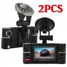 2x Vehicle 1080P HD 2.7 inch  Dual Lens Dash Camera DVR Night Vision Recorder