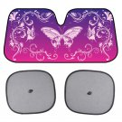 Swirl Butterfly Sunshade for Car Windshield Purple Autoshade Foldable Visor