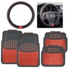 Red Heavy Duty Metallic Rubber Car Floor Mats  PU Leather Steering Wheel Cover