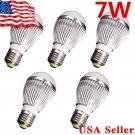 New 5 x 12V High Power LED Lamp Bulb - E27 E26 7W White Light Energy Saving O