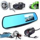 4.3 Dual Lens 1080p HD Dash Cam Video Recorder Rearview Mirror Car Camera US