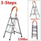 3 Step Ladder Lightweight Folding Stool Heavy Duty 330Lbs Aluminum Non-Slip OB
