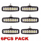 6X 18W 6 flood LED Work Light Bar Diving Off road 4WD Truck Single Row 4x4 UTE