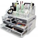 Large 4 Drawers Cosmetic Holder Jewelry Chest MakeUp Acrylic Case Organizer Set