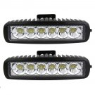 2pcs 18w Led Work Light Bar Flood Beam Offroad Driving Fog 4WD Lamp UTE SUV OY