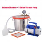 New 5 Gallon Vacuum and 4 CFM DOUBLE Stage Pump Degassing Silicone Kit