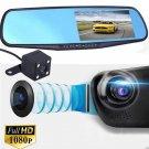 4.3 HD 1080P Dual Lens DVR Dash Recorder Cam Monitor Car Rearview Mirror OY