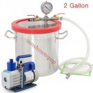 3 CFM Vac Pump  2Gallons Vacuum Chamber Degas Silicone Liquid Expoxy Resin US H