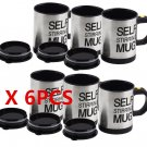 6Pcs New Stainless Steel Lazy Self Stirring Auto Mixing Mug Coffee Tea Cup OY