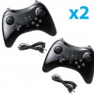 2X Black High Quality U Pro Bluetooth Wireless Controller for Nintendo Wii U