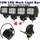 X4 18W 4 LED Work Light Bar Spot Beam Offroad 4WD UTE SUV Fog Driving Lamp