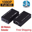 HDMI LAN Ethernet Extender Over Single Cat5E Cat6 RJ45 Up To 200Ft 1080P