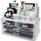 2pcs Acrylic Jewelry Cosmetic Organizer Case Display Holder Drawer Box Storage