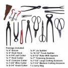 14 pcs Bonsai Tool Set Broom Root Hook Splitter Rake Cutter Scissors With Bag OY