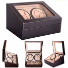 Leather Watch Winder Storage Auto Display Case Box 4 6 Automatic Rotation BrownS