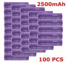 100 High Drain Rechargeable Battery 18650 35A 3.7v LI-MN 2500mAh Button BY