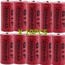 10PCS 3.7V 16340 TR16340 2300mAh GTF Rechargeable Battery Cell Flashlight