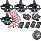 4X 10000LM XML 2XT6 LED Focus Headlight Head Lamp Zoomable 8x 18650 4xCharger OY