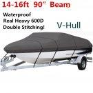 14 15 16ft Waterproof Fishing Ski Bass Trailerable V shape Boat Cover 90 Beam G