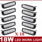 10X 6INCH 18W LED WORK LIGHT BAR FLOOD BEAM DRIVING FOG 4WD LAMP UTE SUV
