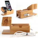 Bamboo Charging Dock Station Charger Holder Stand For Apple Watch iPhone6 Plus