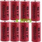 8PCS 3.7V 16340 TR16340 2300mAh GTF Rechargeable Battery Cell Flashlight