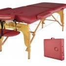 New Portable Massage Table Burgundy PU with Free Carry Case U1
