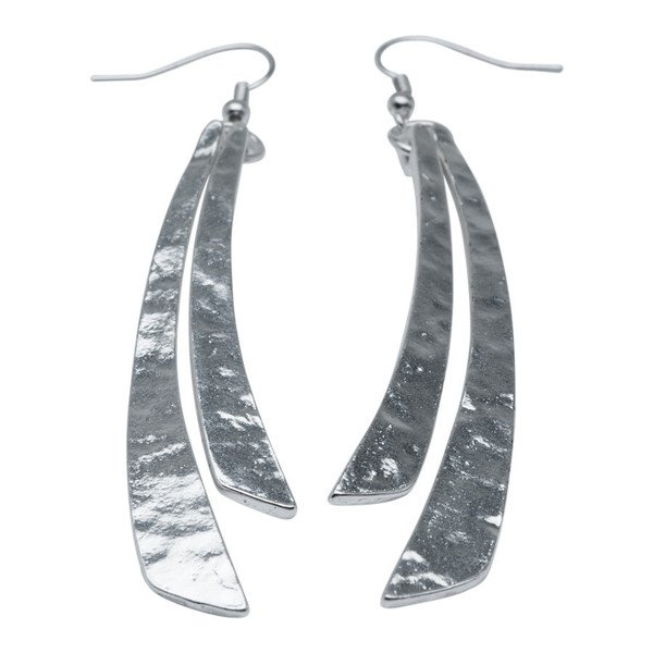 Matte Silver Long Double Flat Stick Dangle Earrings with Hammered Finish, Karine Sultan