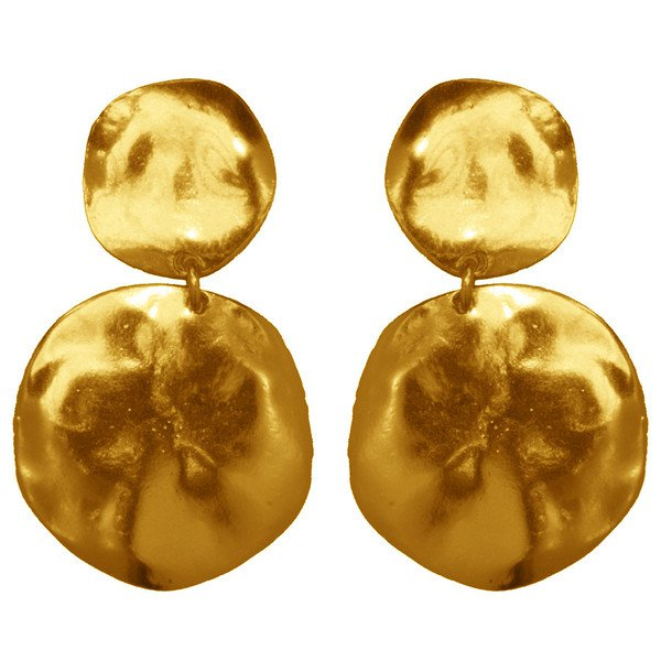 Earrings LOLA, Hammered Double Medal, Karine Sultan