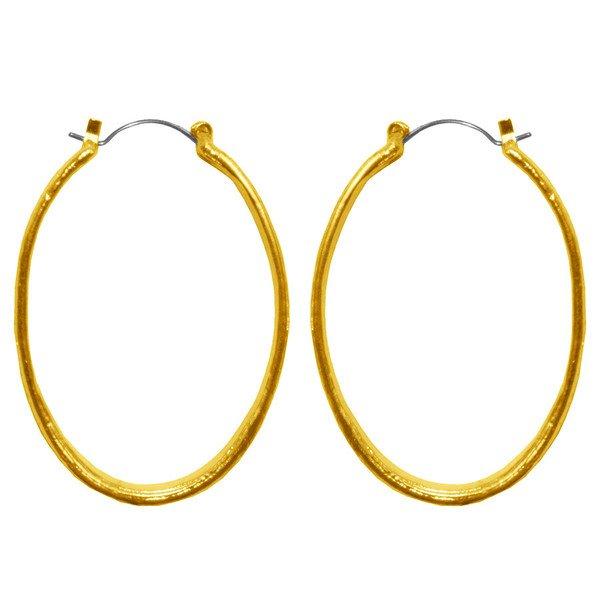 Earrings LISE , Brushed Long Oval Hoop