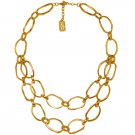 Statement Necklace LEA,  Two Rows of Irregular Cut-Out, Circle Links, Karine Sultan