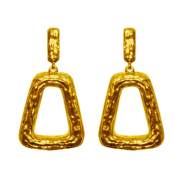 Earrings SIMONE, Chunky Textured Cut-Out Trapezoid Drop Earrings, Karine Sultan